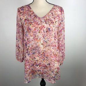 Ann Taylor Semi Sheer Floral V Neck Long Sleeve